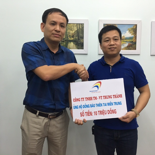 Công ty TNHH TM-VT Trung Thành ủng hộ 10 triệu đồng đến đồng bào miền Trung