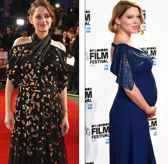 Marion Cotillard (trái) đang mang thai đứa con thứ 2 còn Bond girl Lea Seydoux lần đầu lên chức mẹ