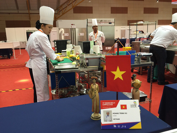Thí sinh Việt Nam đang dự thi tại Kỳ thi tay nghề Asean lần thứ 11 (Ảnh: TCDN)