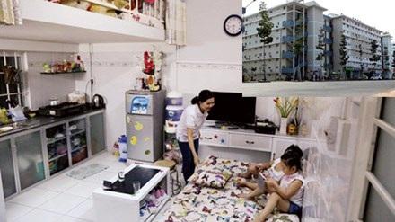 Người dân sống trong căn hộ giá 100 triệu đồng (ảnh lớn). Khu nhà an sinh Bình Dương (ảnh nhỏ). Ảnh: T.L.