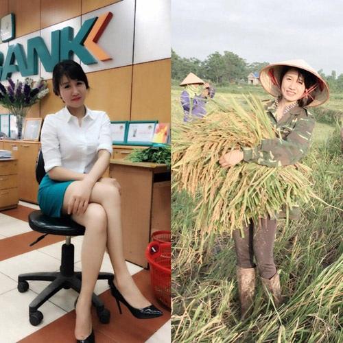 Cô gái Thái Nguyên xinh đẹp trong bức hình gặt lúa