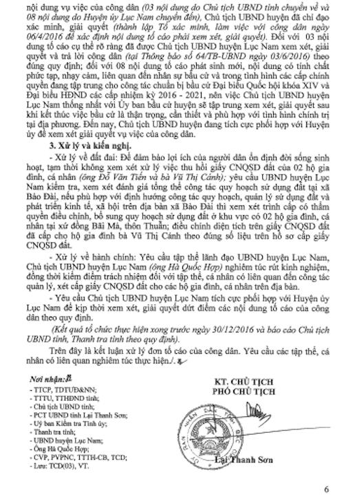 UBND tỉnh kết luận nội dung công dân tố cáo ông Hà Quốc Hợp - Chủ tịch UBND huyện Lục Nam cấp sổ đỏ trái quy định có một phần đúng và đề nghị kiểm điểm trách nhiệm tập thể, cá nhân liên quan.