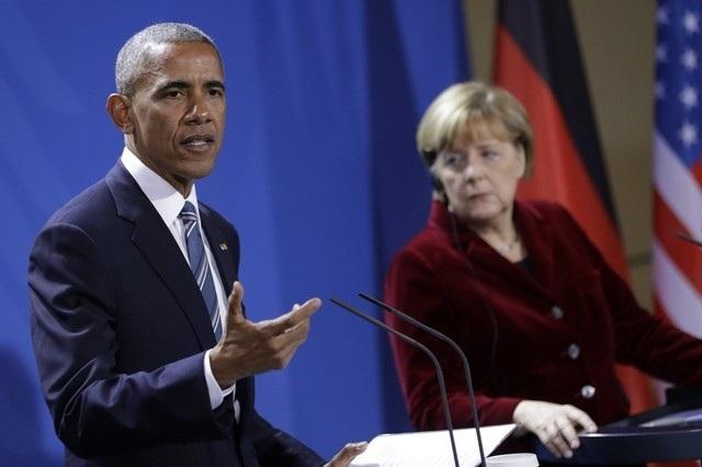 Tổng thống Mỹ Barack Obama trong cuộc họp báo chung với Thủ tướng Đức Angela Merkel. (Ảnh: Reuters)