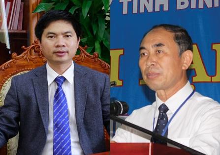 Tân Phó Chủ tịch tỉnh Hà Nam Trương Quốc Huy (trái) và Phó Chủ tịch tỉnh Bình Phước Nguyễn Tiến Dũng.