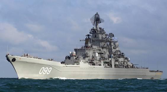 Tuần dương hạm Peter Đại đế của Hải quân Nga tiến về Địa Trung Hải.