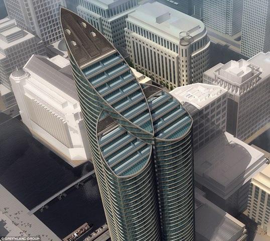 Tòa tháp giống hệt của quý khổng lồ khi nhìn từ trên cao.