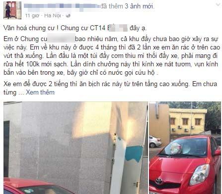 Câu chuyện về chiếc ô tô bị vỡ kính vì túi rác từ trên cao ném xuống thu hút sự chú ý của cộng đồng mạng