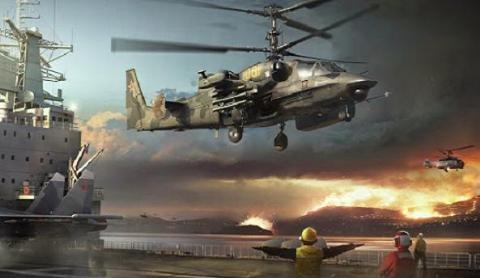 Máy bay trực thăng tấn công Ka-52K Katran được triển khai trên tàu sân bay Nga