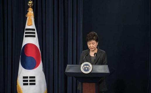 Tổng thống Park Geun-hye trong bài phát biểu xin lỗi người dân Hàn Quốc tại Nhà Xanh hôm 4/11. (Nguồn: AFP).
