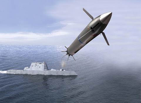 Chiến hạm Zumwalt bắn đạn LRLAP.