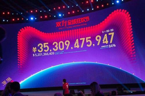 Màn hình thể hiện doanh thu của Alibaba sau 1 tiếng đầu tiên của Ngày Độc Thân
