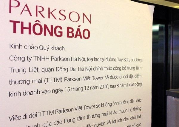 Tuyên bố sắp đóng cửa của Parkson Thái Hà