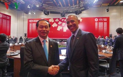 Chủ tịch nước Trần Đại Quang và Tổng thống Barack Obama.
