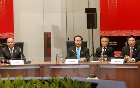 Chủ tịch nước Trần Đại Quang tham dự cuộc gặp Cấp cao Hiệp định Đối tác xuyên Thái Bình Dương (TPP). (Ảnh: Nhan Sáng/TTXVN)