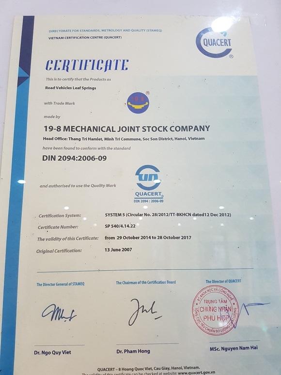 Chứng chỉ chất lượng: DIN 2094:2006-09