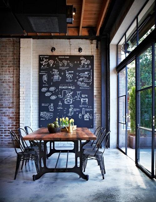 Với lợi thế cửa sổ rộng, ánh sáng tự nhiên sẽ khiến phòng ăn sáng vào ban ngày, chính vì thế gia chủ có thể vừa thưởng thức bữa sáng vừa được đón ánh nắng sớm. Chính chiếc bảng đen trang trí đã là điểm nhấn nổi bật cho không gian toàn nội thất đơn giản.