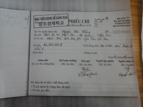 Học viên Thắng được nhận lại 80% số tiền học phí từ Học viện. Ảnh: Hoàng Nam