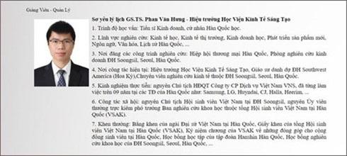 Chức danh GS.TS của ông Phạm Văn Hưng được công bố trên trang website của Học viện Kinh tế sáng tạo