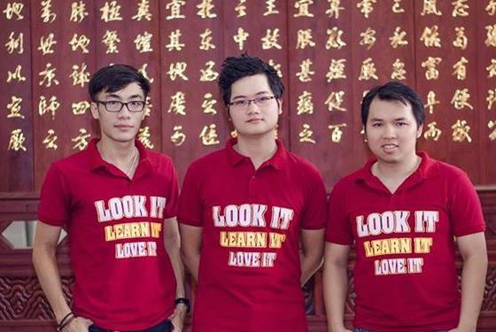 Nguyễn Chí Long (đứng giữa) cùng 2 bạn thân Thùy, Thành Long.