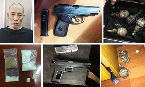 """Trùm ma túy Long """"cát"""" và """"kho"""" vũ khí bị thu giữ."""