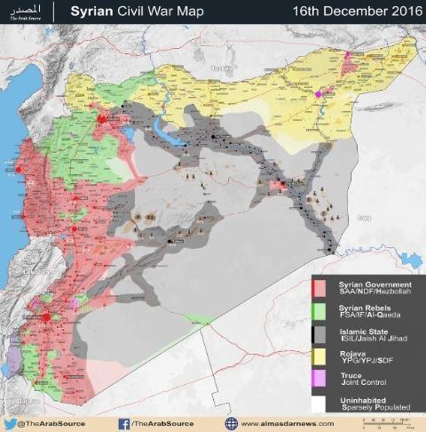 Bản đồ tình hình chiến sự trên các chiến trường Syria, tính đến ngày 18/12