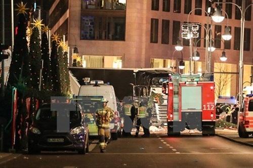 Cảnh sát điều tra hiện trường vụ đâm xe tải. (Nguồn: THX/TTXVN).