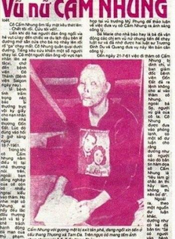Trang báo cũ ở Sài Gòn viết về Cẩm Nhung (ảnh Internet)