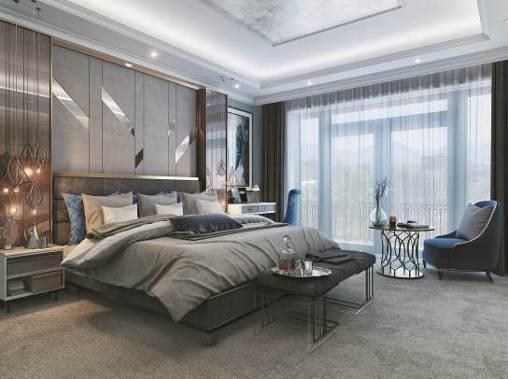 Phòng ngủ cao cấp có sự kết nối hài hòa trong màu sắc cũng như hình khối giữa giường, chăn gối, bàn phấn… Thêm một nét nhấn nhá là bộ bàn ghế nhỏ xinh, êm ái cho chủ nhân thoải mái ngắm nhìn không gian xanh bên ngoài.