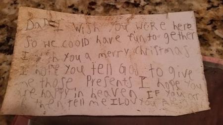 Nét chữ non nớt của cậu bé mất cha