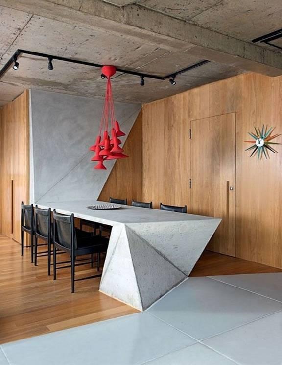 Phá bỏ cách thiết kế theo kiểu truyền thống, chiếc bàn ăn cách điệu và chiếc đèn rơi màu đỏ nổi bật sẽ đủ hấp dẫn bạn phải ngồi vào bàn ăn ngay lập tức.