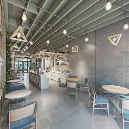 Những tầng tiếp theo sẽ là không gian sinh hoạt ấm cúng của chủ nhà. Phòng khách và nhà bếp được bố trí đơn giản với đồ nội thất chất liệu gỗ, chrome, kính... có màu sắc trung tính. Điểm nhấn là những chiếc đèn có hình khối lạ mắt phía trên.