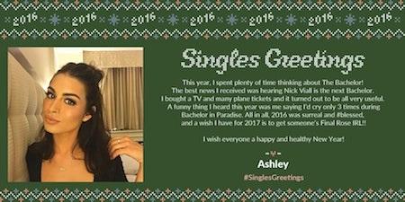 Người đẹp Ashley Iaconetti còn đặc biệt dành thời gian để tổng kết lại một năm 2016 sắp qua đi và chúc cho nhiều điều tốt lành sẽ đến trong năm mới