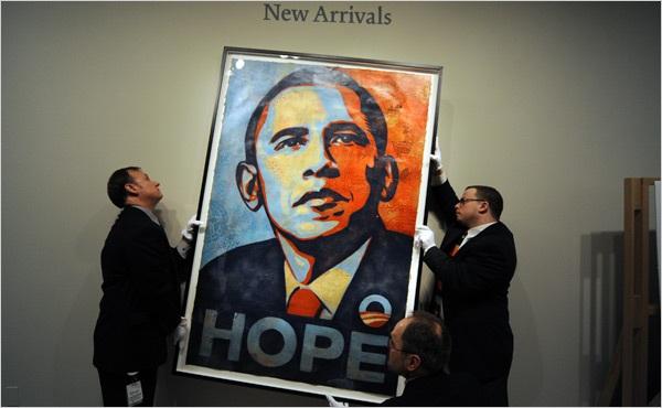 Bức poster Hope vẽ chân dung Tổng thống Barack Obama. (Ảnh: New York Times)