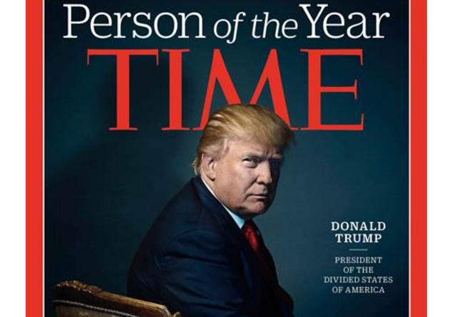 Chữ M đặt ngay phía trên đầu ong Trump trong ảnh bìa của TIME. (Ảnh: TIME)