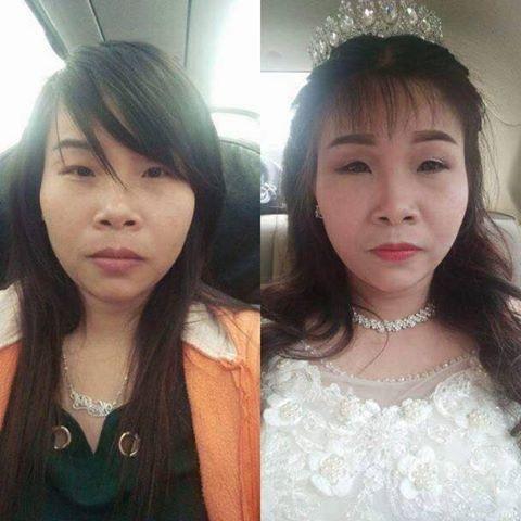 Cô dâu 23 tuổi sau khi phù phép make up thành cụ bà 73 tuổi khiến cộng đồng mạng xôn xao.