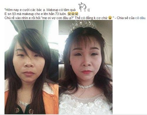 Lời chia sẻ của cô dâu được một diễn đàn đăng tải kèm theo hình ảnh trước và sau mak up.