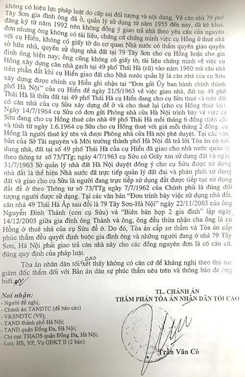 Ba cấp toà đã thống nhất một bản án xác định chủ sở hữu tài sản số 79 Tây Sơn.