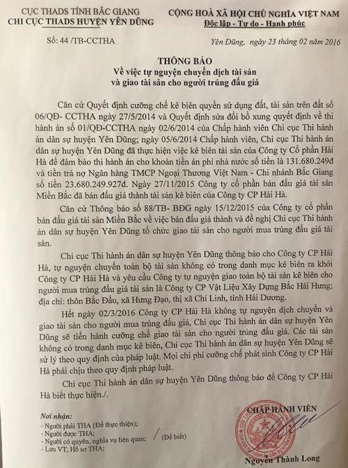 Văn bản lập lờ đánh lận con đen của Chi cục Thi hành án huyện Yên Dũng.