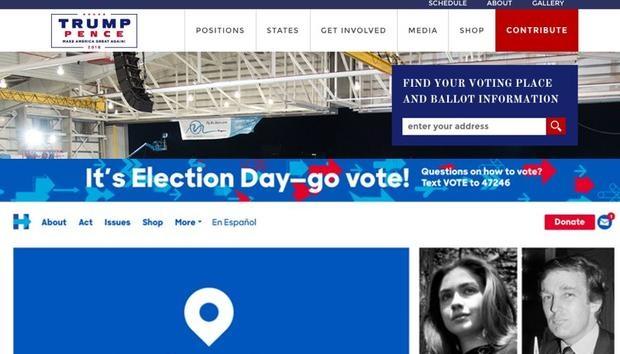 Website của ông Trump vào ngày bầu cử 8/11. Ảnh chụp màn hình.