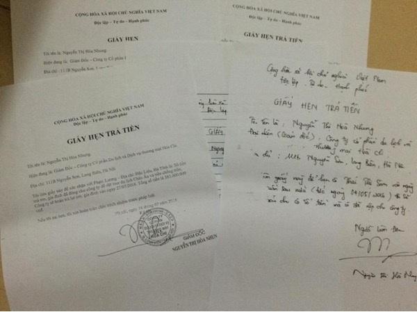Rất nhiều giấy hẹn, nhưng đến giờ bà Sâm mới nhận được 10 triệu đồng từ phía bà Nhung, Giám đốc Công ty Cổ phần Du lịch và Dịch vụ Thương mại Hòa Chi.