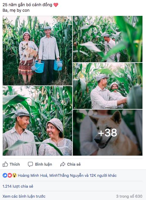 Bộ ảnh truyền cảm hứng sống của cặp vợ chồng nông dân đang được dân mạng chia sẻ rần rần