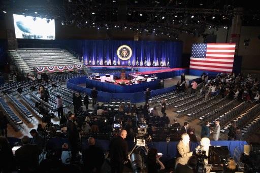 Khán phòng nơi ông Obama phát biểu (Ảnh: AFP)