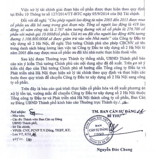 """Chủ tịch UBND TP Hà Nội Nguyễn Đức Chung đã thay mặt Ban cán sự Đảng UBND TP Hà Nội ký công văn báo cáo phương án xử lý vụ cổ phần hoá """"vịt trời"""" tại HACINCO."""