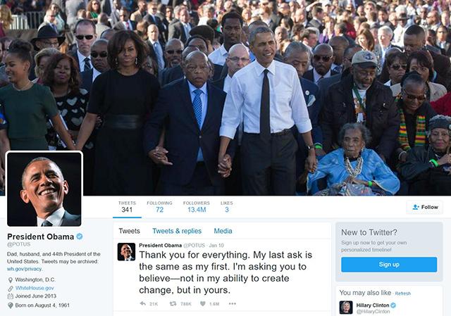 Trang Twitter chính thức dành cho Tổng thống Mỹ được thành lập dưới thời ông Obama