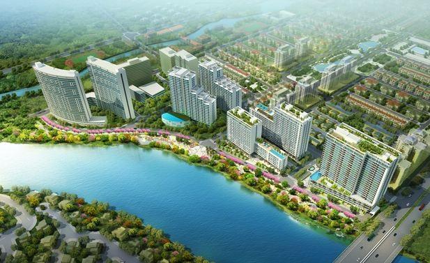 Phối cảnh toàn bộ khu phức hợp Phú Mỹ Hưng Midtown đang được triển khai trong đô thị Phú Mỹ Hưng