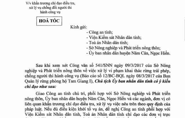Công văn chỉ đạo xử lý vụ lâm tặc tấn công cán bộ quản lý rừng của UBND tỉnh Cà Mau.
