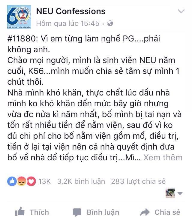 Mới đây trên fanpage NEU Confession vừa đăng tải câu chuyện của một cô gái trẻ bị người yêu phũ phàng nói lời chia tay vì cô từng làm nghề PG.