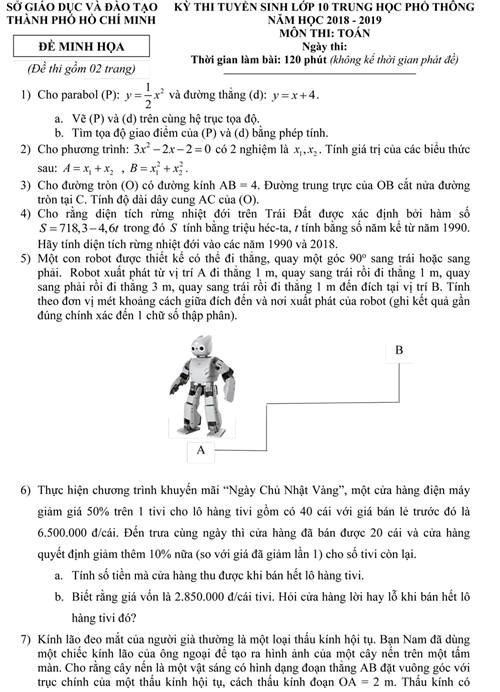 TPHCM công bố đề minh họa môn Toán lớp 10 năm 2018 - 1