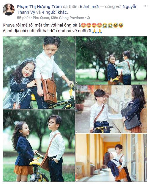 Ca sĩ Hương Tràm mệt tim vì bộ ảnh cover MV Em gái mưa của hai em bé Hà Nội.
