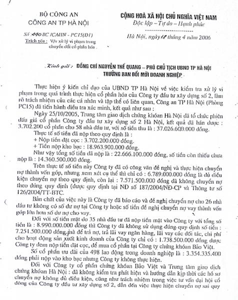Công an TP Hà Nội đã có Công văn số 440BC/CAHN-PC15 (D1) gửi đồng chí Nguyễn Thế Quang - Phó chủ tịch UBND TP Hà Nội, Trưởng ban đổi mới doanh nghiệp.